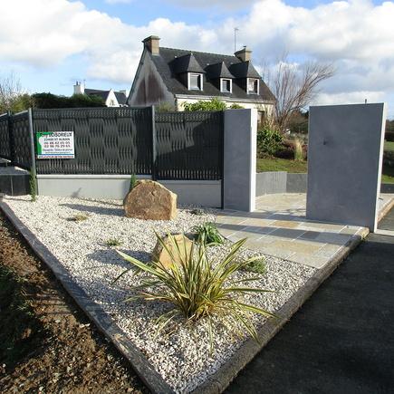 Aménagement terrasse, retenues de terre et murets - Lamballe
